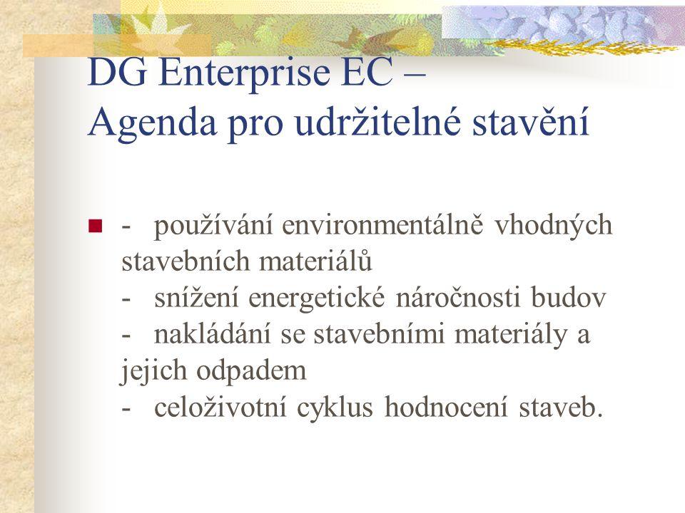 DG Enterprise EC – Agenda pro udržitelné stavění - používání environmentálně vhodných stavebních materiálů - snížení energetické náročnosti budov - nakládání se stavebními materiály a jejich odpadem - celoživotní cyklus hodnocení staveb.
