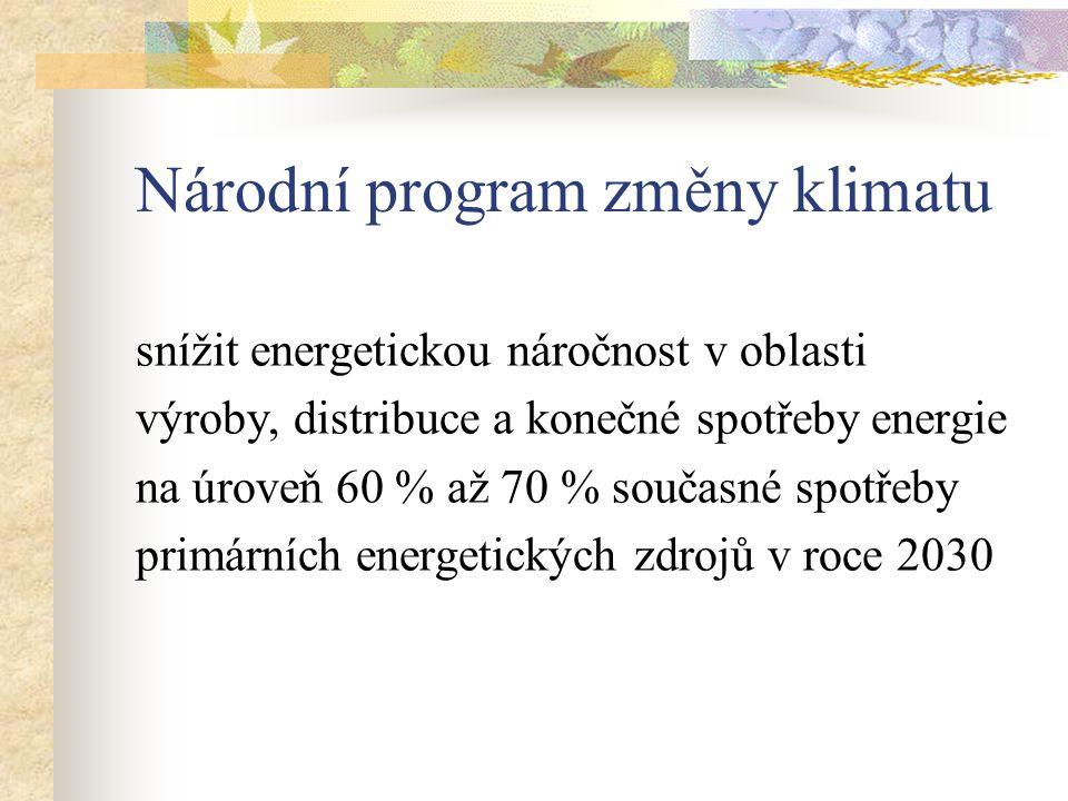 Národní program změny klimatu snížit energetickou náročnost v oblasti výroby, distribuce a konečné spotřeby energie na úroveň 60 % až 70 % současné spotřeby primárních energetických zdrojů v roce 2030