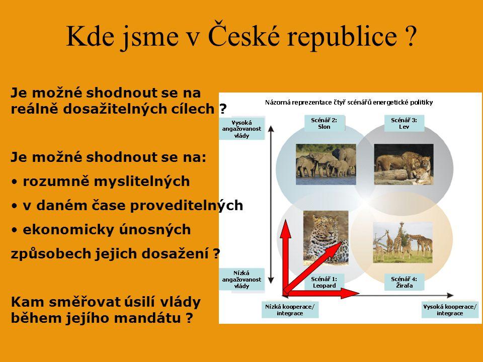 Kde jsme v České republice ? Je možné shodnout se na reálně dosažitelných cílech ? Je možné shodnout se na: rozumně myslitelných v daném čase provedit