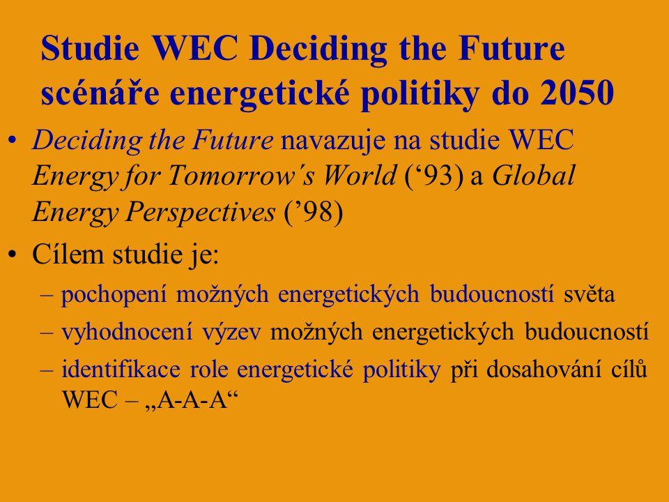 """Studie WEC Deciding the Future scénáře energetické politiky do 2050 Deciding the Future navazuje na studie WEC Energy for Tomorrow´s World ('93) a Global Energy Perspectives ('98) Cílem studie je: –pochopení možných energetických budoucností světa –vyhodnocení výzev možných energetických budoucností –identifikace role energetické politiky při dosahování cílů WEC – """"A-A-A"""