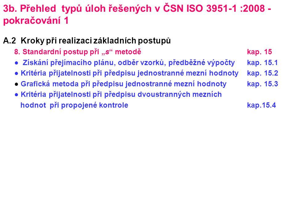 """3b. Přehled typů úloh řešených v ČSN ISO 3951-1 :2008 - pokračování 1 A.2 Kroky při realizaci základních postupů 8. Standardní postup při """"s"""" metoděka"""