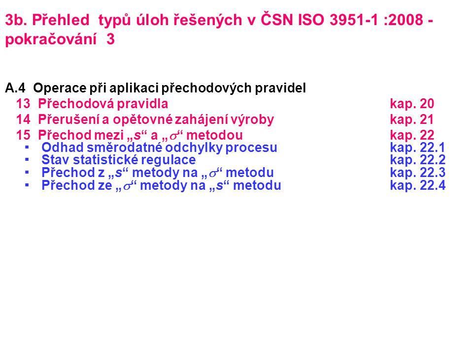 3b. Přehled typů úloh řešených v ČSN ISO 3951-1 :2008 - pokračování 3 A.4 Operace při aplikaci přechodových pravidel 13 Přechodová pravidlakap. 20 14