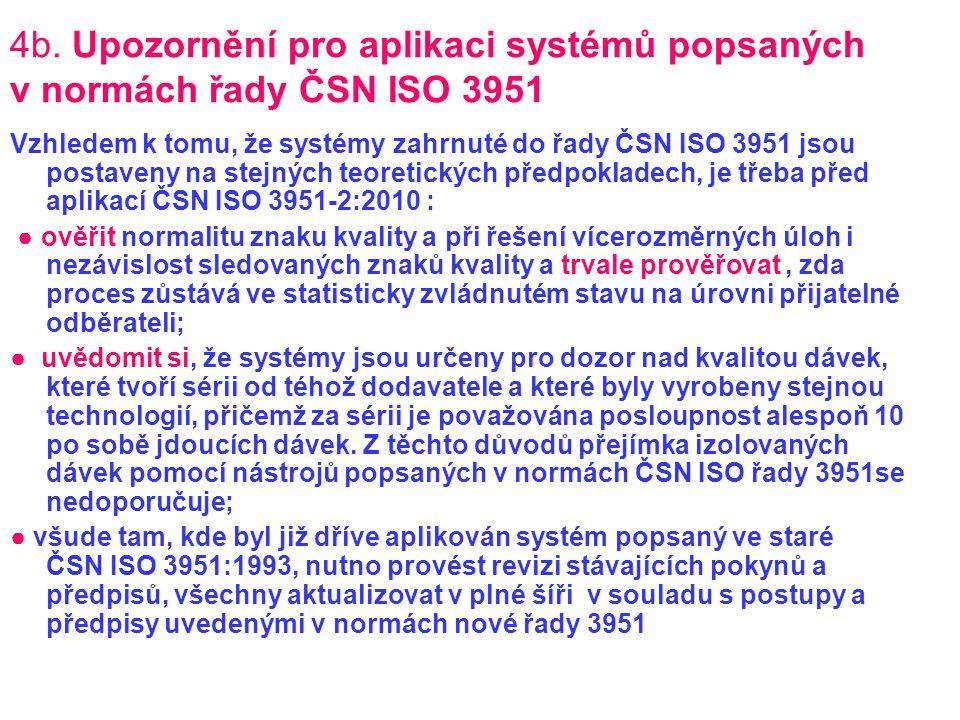 4b. Upozornění pro aplikaci systémů popsaných v normách řady ČSN ISO 3951 Vzhledem k tomu, že systémy zahrnuté do řady ČSN ISO 3951 jsou postaveny na