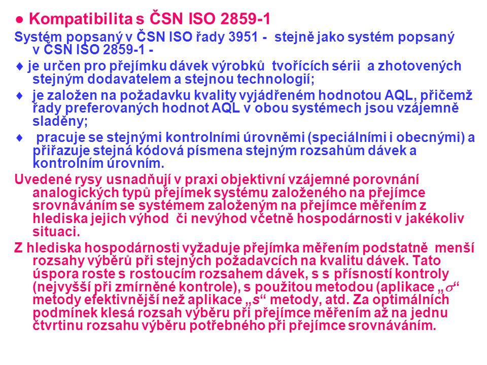 ● Kompatibilita s ČSN ISO 2859-1 Systém popsaný v ČSN ISO řady 3951 - stejně jako systém popsaný v ČSN ISO 2859-1 -  je určen pro přejímku dávek výro
