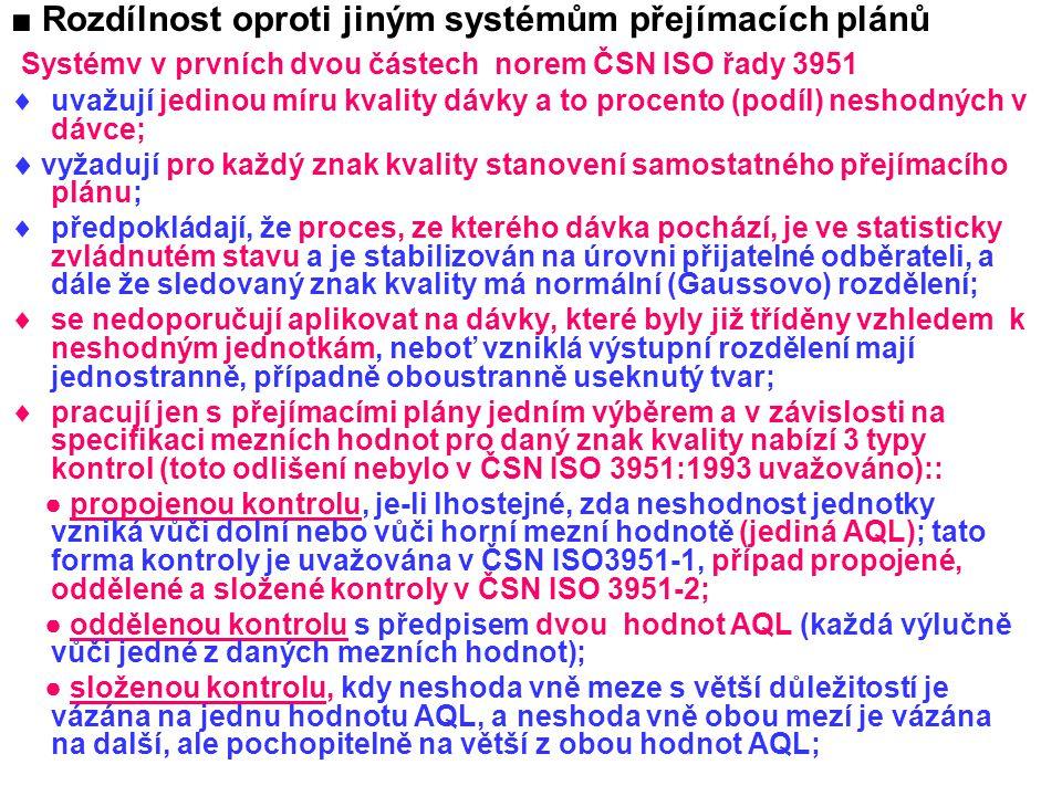 ■ Rozdílnost oproti jiným systémům přejímacích plánů Systémv v prvních dvou částech norem ČSN ISO řady 3951  uvažují jedinou míru kvality dávky a to