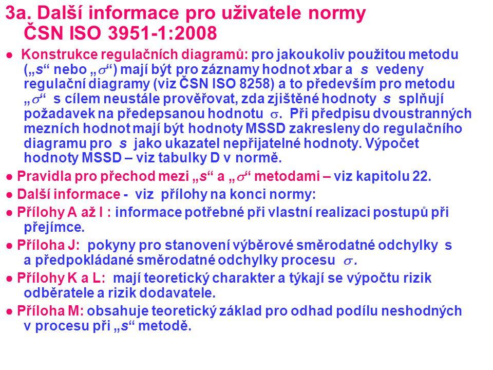 """3a. Další informace pro uživatele normy ČSN ISO 3951-1:2008 ● Konstrukce regulačních diagramů: pro jakoukoliv použitou metodu (""""s"""" nebo """"  """") mají bý"""