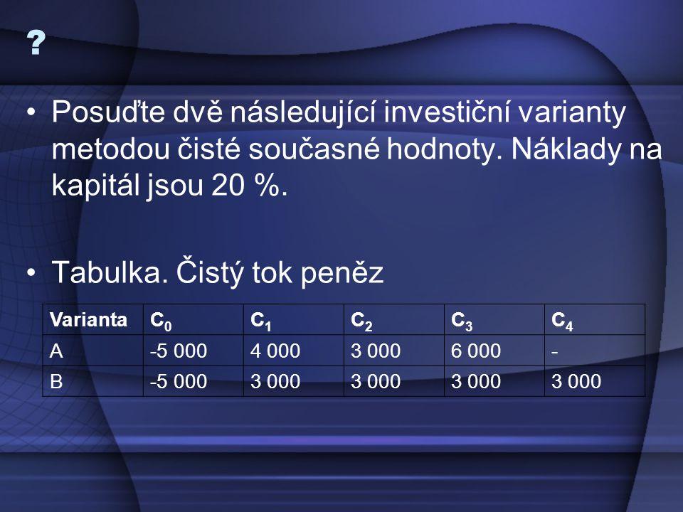 ? Posuďte dvě následující investiční varianty metodou čisté současné hodnoty. Náklady na kapitál jsou 20 %. Tabulka. Čistý tok peněz VariantaC0C0 C1C1