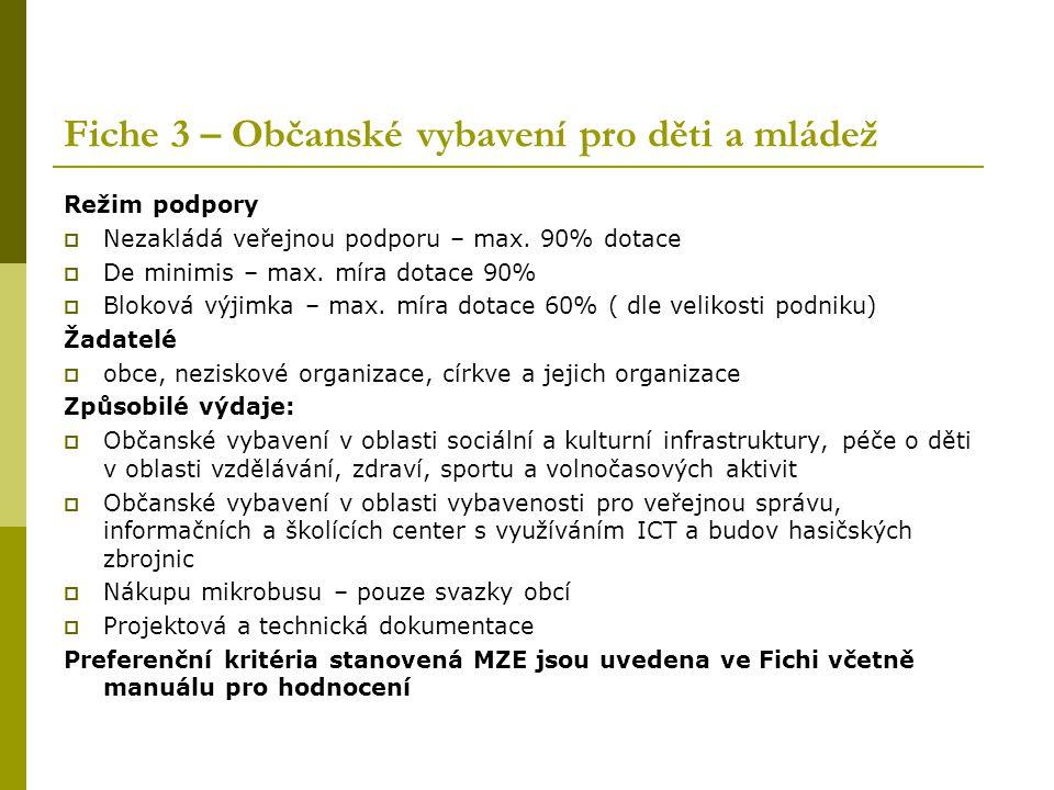 Fiche 3 – Občanské vybavení pro děti a mládež Režim podpory  Nezakládá veřejnou podporu – max. 90% dotace  De minimis – max. míra dotace 90%  Bloko
