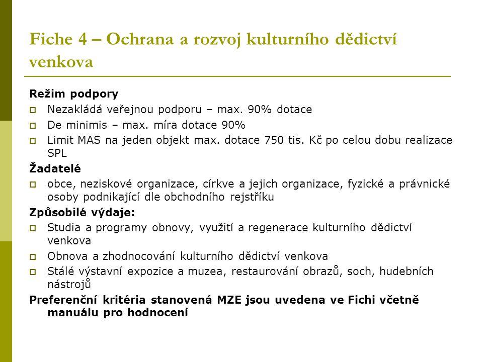 Fiche 4 – Ochrana a rozvoj kulturního dědictví venkova Režim podpory  Nezakládá veřejnou podporu – max.