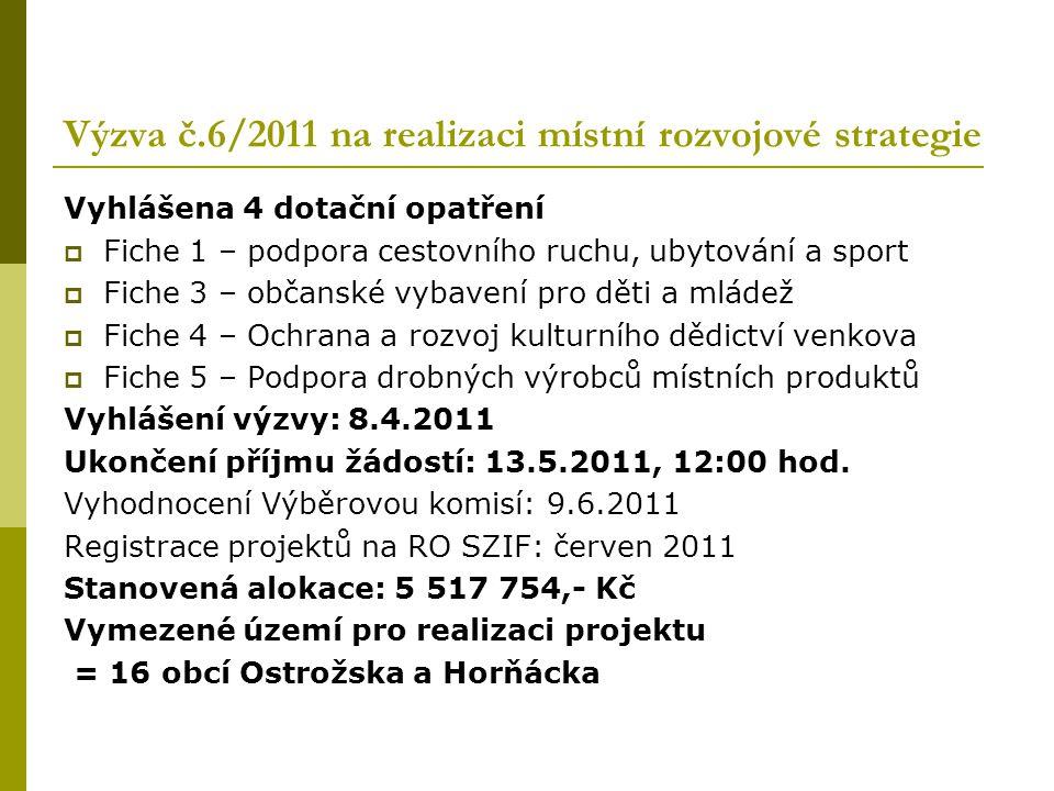 Výzva č.6/2011 na realizaci místní rozvojové strategie Vyhlášena 4 dotační opatření  Fiche 1 – podpora cestovního ruchu, ubytování a sport  Fiche 3