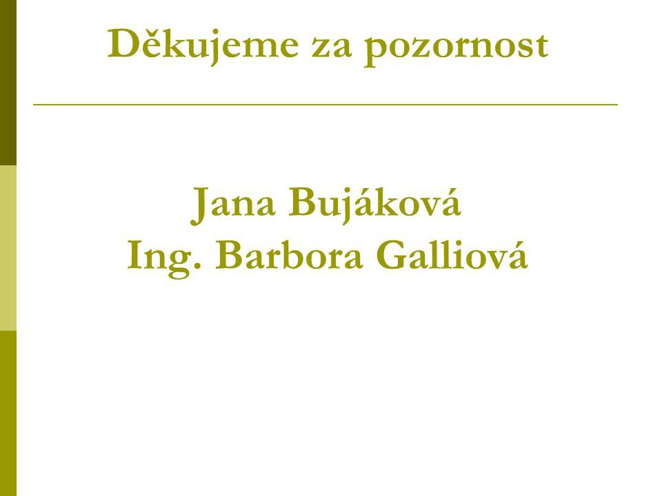 Děkujeme za pozornost Jana Bujáková Ing. Barbora Galliová