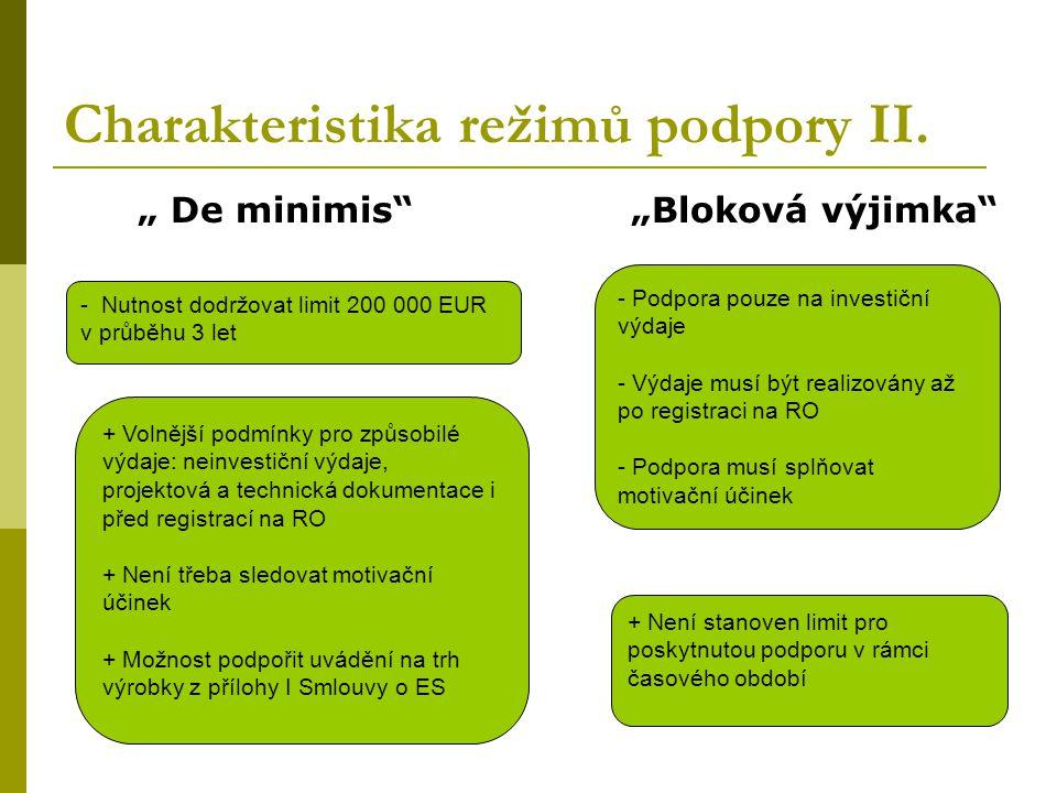 """"""" De minimis"""" """"Bloková výjimka"""" Charakteristika režimů podpory II. - Nutnost dodržovat limit 200 000 EUR v průběhu 3 let + Volnější podmínky pro způso"""