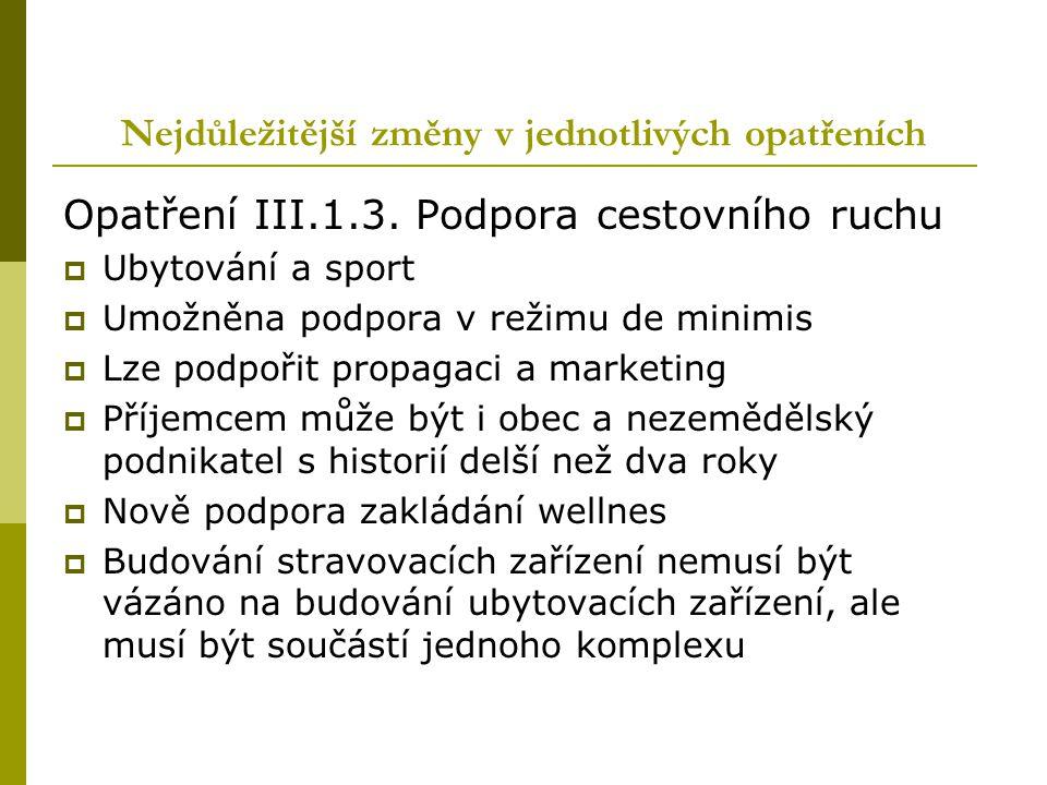 Nejdůležitější změny v jednotlivých opatřeních Opatření III.1.3. Podpora cestovního ruchu  Ubytování a sport  Umožněna podpora v režimu de minimis 