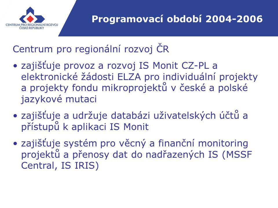 Programovací období 2004-2006 Centrum pro regionální rozvoj ČR zajišťuje provoz a rozvoj IS Monit CZ-PL a elektronické žádosti ELZA pro individuální projekty a projekty fondu mikroprojektů v české a polské jazykové mutaci zajišťuje a udržuje databázi uživatelských účtů a přístupů k aplikaci IS Monit zajišťuje systém pro věcný a finanční monitoring projektů a přenosy dat do nadřazených IS (MSSF Central, IS IRIS)