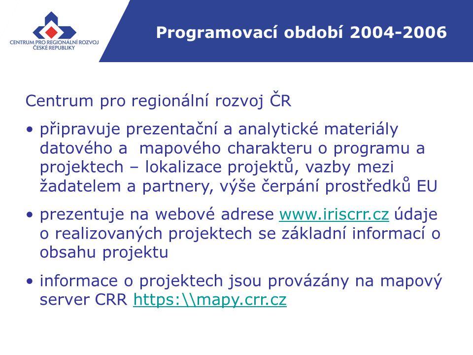 Programovací období 2004-2006 Centrum pro regionální rozvoj ČR připravuje prezentační a analytické materiály datového a mapového charakteru o programu