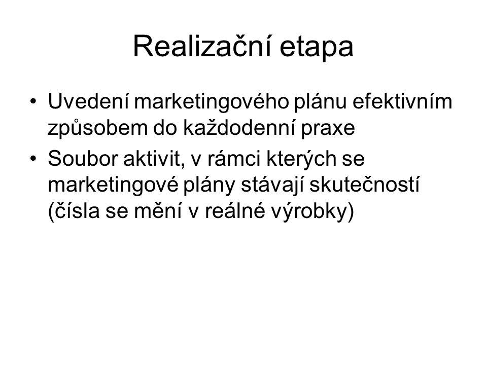 Realizační etapa Uvedení marketingového plánu efektivním způsobem do každodenní praxe Soubor aktivit, v rámci kterých se marketingové plány stávají skutečností (čísla se mění v reálné výrobky)