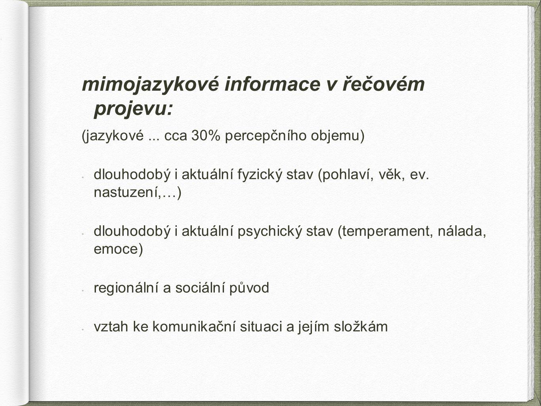 mimojazykové informace v řečovém projevu: (jazykové... cca 30% percepčního objemu) dlouhodobý i aktuální fyzický stav (pohlaví, věk, ev. nastuzení,…)