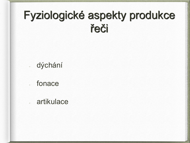Fyziologické aspekty produkce řeči dýchání fonace artikulace