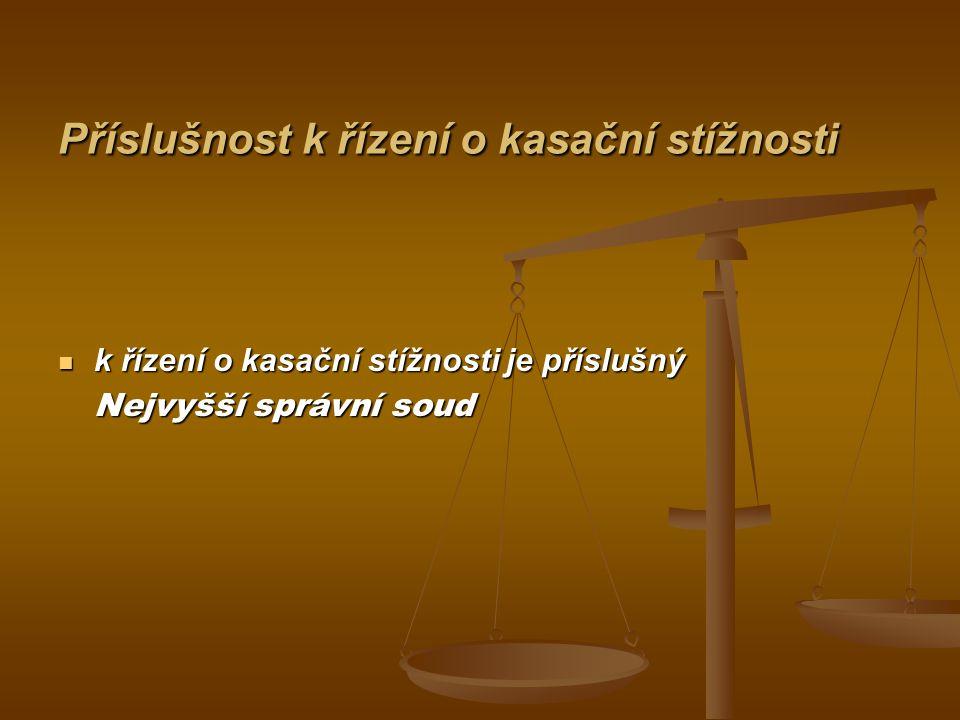 Řízení o kasační stížnosti (§ 109 s.ř.s.) o kasační stížnosti rozhoduje Nejvyšší správní soud zpravidla bez jednání, o kasační stížnosti rozhoduje Nejvyšší správní soud zpravidla bez jednání, Nejvyšší správní soud je vázán rozsahem kasační stížnosti; to neplatí, je-li na napadeném výroku závislý výrok, který napaden nebyl, nebo je-li rozhodnutí správního orgánu nicotné, Nejvyšší správní soud je vázán rozsahem kasační stížnosti; to neplatí, je-li na napadeném výroku závislý výrok, který napaden nebyl, nebo je-li rozhodnutí správního orgánu nicotné, Nejvyšší správní soud je vázán důvody kasační stížnosti; to neplatí, bylo-li řízení před soudem zmatečné [§ 103 odst.