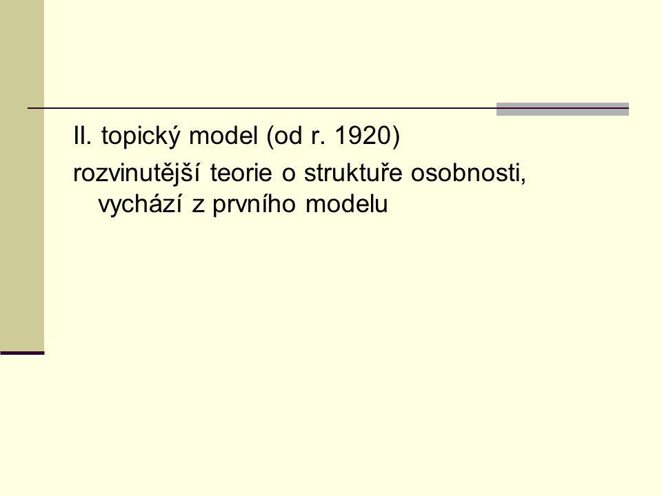 II. topický model (od r. 1920) rozvinutější teorie o struktuře osobnosti, vychází z prvního modelu