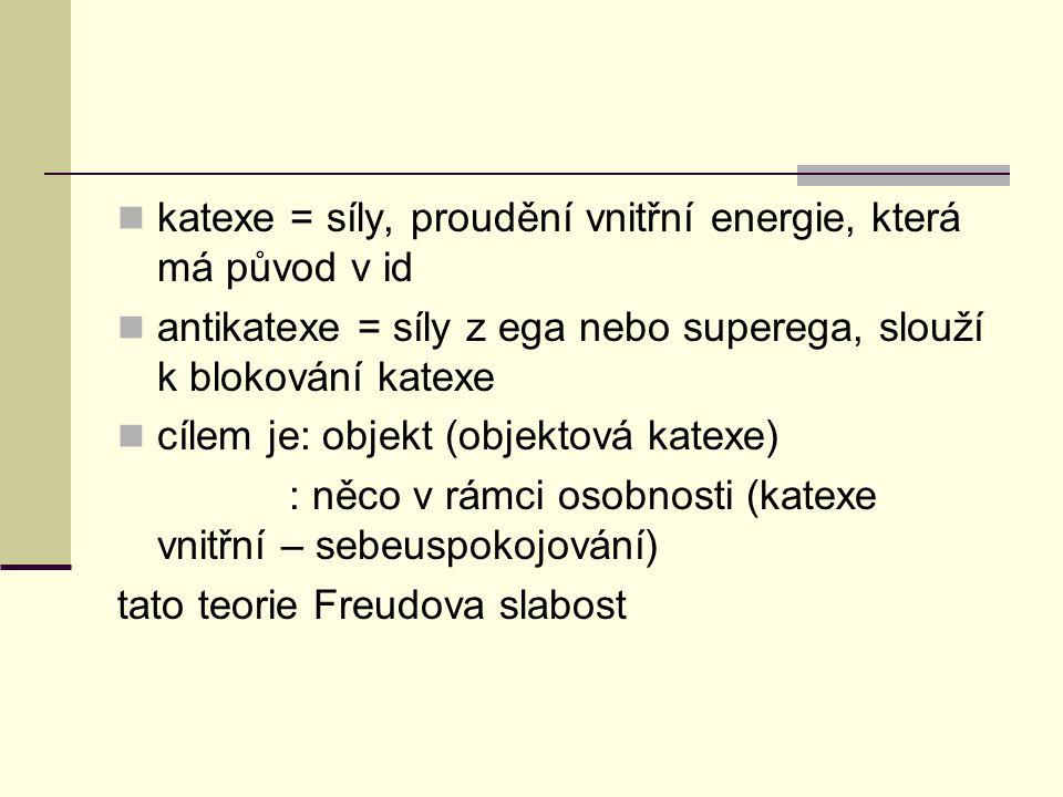 katexe = síly, proudění vnitřní energie, která má původ v id antikatexe = síly z ega nebo superega, slouží k blokování katexe cílem je: objekt (objekt