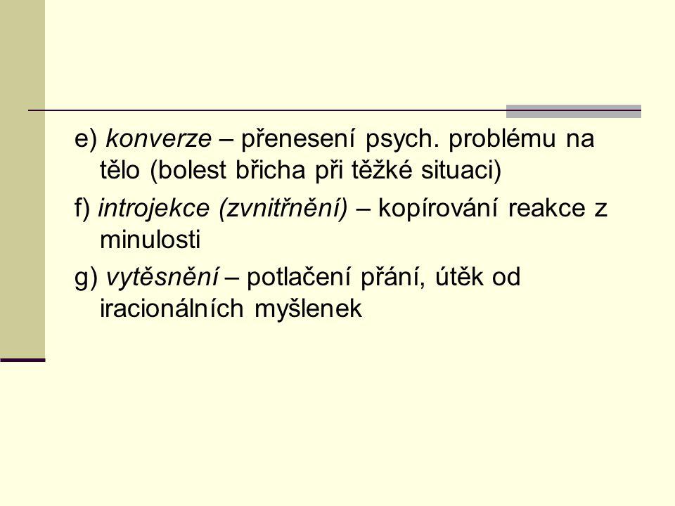 e) konverze – přenesení psych. problému na tělo (bolest břicha při těžké situaci) f) introjekce (zvnitřnění) – kopírování reakce z minulosti g) vytěsn