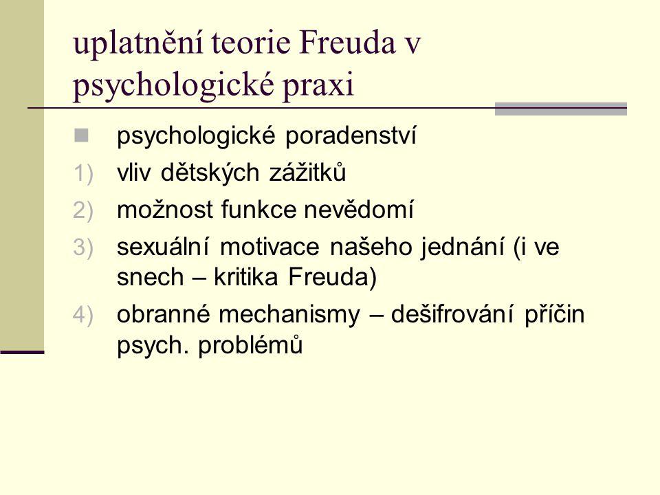 uplatnění teorie Freuda v psychologické praxi psychologické poradenství 1) vliv dětských zážitků 2) možnost funkce nevědomí 3) sexuální motivace našeh
