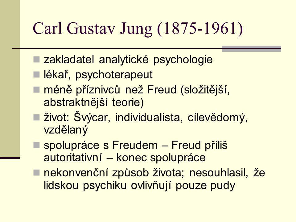 Carl Gustav Jung (1875-1961) zakladatel analytické psychologie lékař, psychoterapeut méně příznivců než Freud (složitější, abstraktnější teorie) život