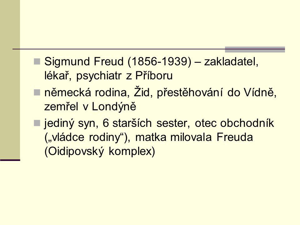 Sigmund Freud (1856-1939) – zakladatel, lékař, psychiatr z Příboru německá rodina, Žid, přestěhování do Vídně, zemřel v Londýně jediný syn, 6 starších