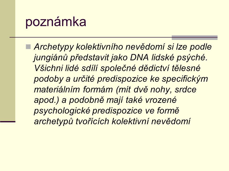poznámka Archetypy kolektivního nevědomí si lze podle jungiánů představit jako DNA lidské psýché. Všichni lidé sdílí společné dědictví tělesné podoby