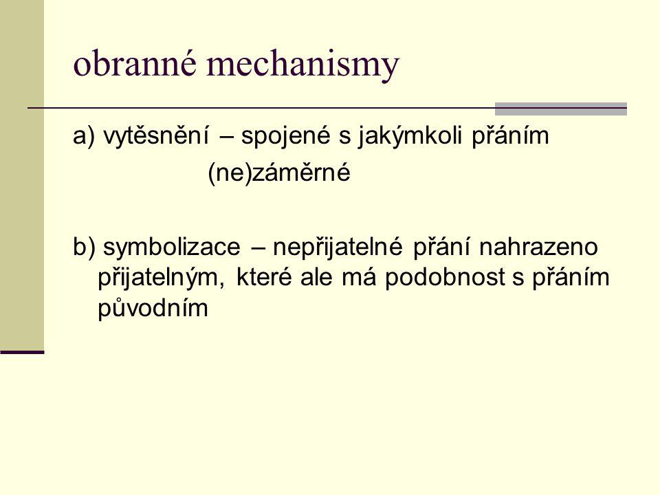 obranné mechanismy a) vytěsnění – spojené s jakýmkoli přáním (ne)záměrné b) symbolizace – nepřijatelné přání nahrazeno přijatelným, které ale má podob