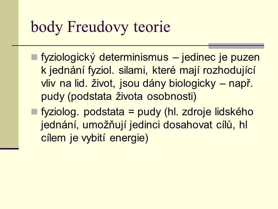 body Freudovy teorie fyziologický determinismus – jedinec je puzen k jednání fyziol. silami, které mají rozhodující vliv na lid. život, jsou dány biol