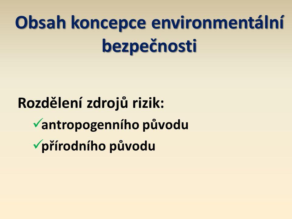 Obsah koncepce environmentální bezpečnosti Rozdělení zdrojů rizik: antropogenního původu přírodního původu