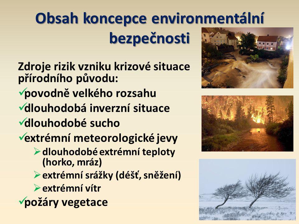 Obsah koncepce environmentální bezpečnosti Zdroje rizik vzniku krizové situace přírodního původu: povodně velkého rozsahu dlouhodobá inverzní situace dlouhodobé sucho extrémní meteorologické jevy  dlouhodobé extrémní teploty (horko, mráz)  extrémní srážky (déšť, sněžení)  extrémní vítr požáry vegetace