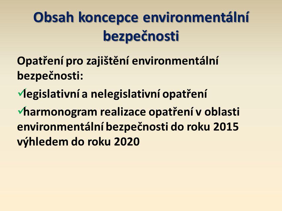 Obsah koncepce environmentální bezpečnosti Opatření pro zajištění environmentální bezpečnosti: legislativní a nelegislativní opatření harmonogram realizace opatření v oblasti environmentální bezpečnosti do roku 2015 výhledem do roku 2020