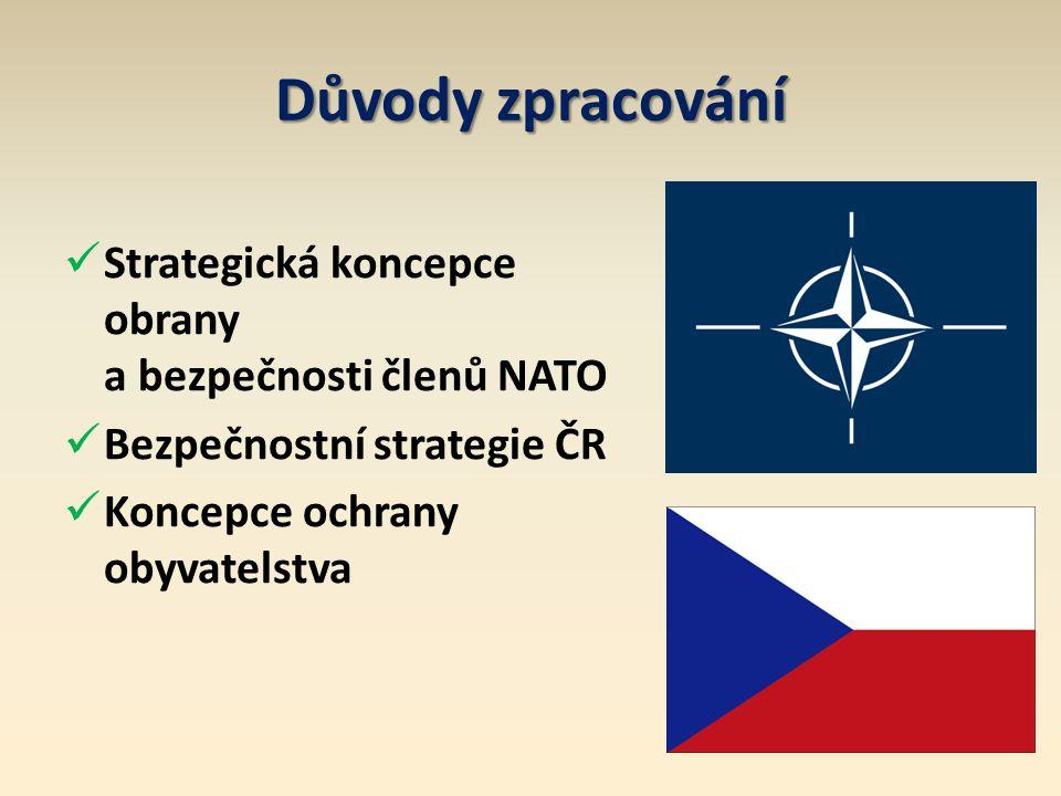 Důvody zpracování Strategická koncepce obrany a bezpečnosti členů NATO Bezpečnostní strategie ČR Koncepce ochrany obyvatelstva
