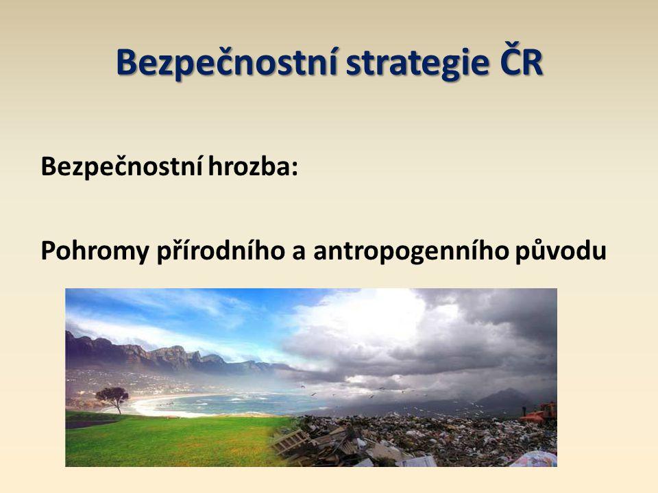 Definice environmentální bezpečnosti Environmentální bezpečnost je stav, při kterém je pravděpodobnost vzniku krizové situace vzniklé narušením životního prostředí ještě přijatelná