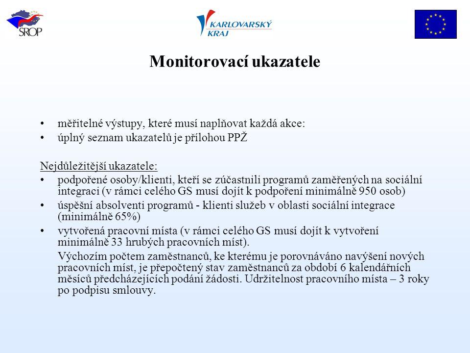 Monitorovací ukazatele měřitelné výstupy, které musí naplňovat každá akce: úplný seznam ukazatelů je přílohou PPŽ Nejdůležitější ukazatele: podpořené