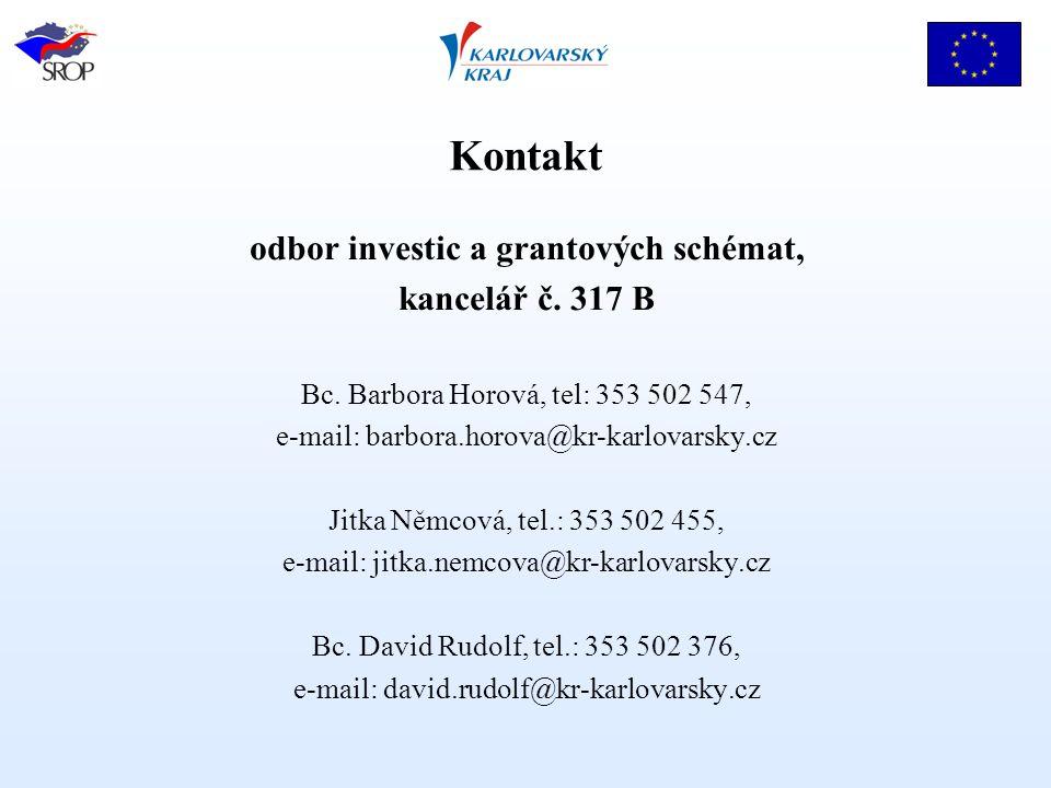 Kontakt odbor investic a grantových schémat, kancelář č.
