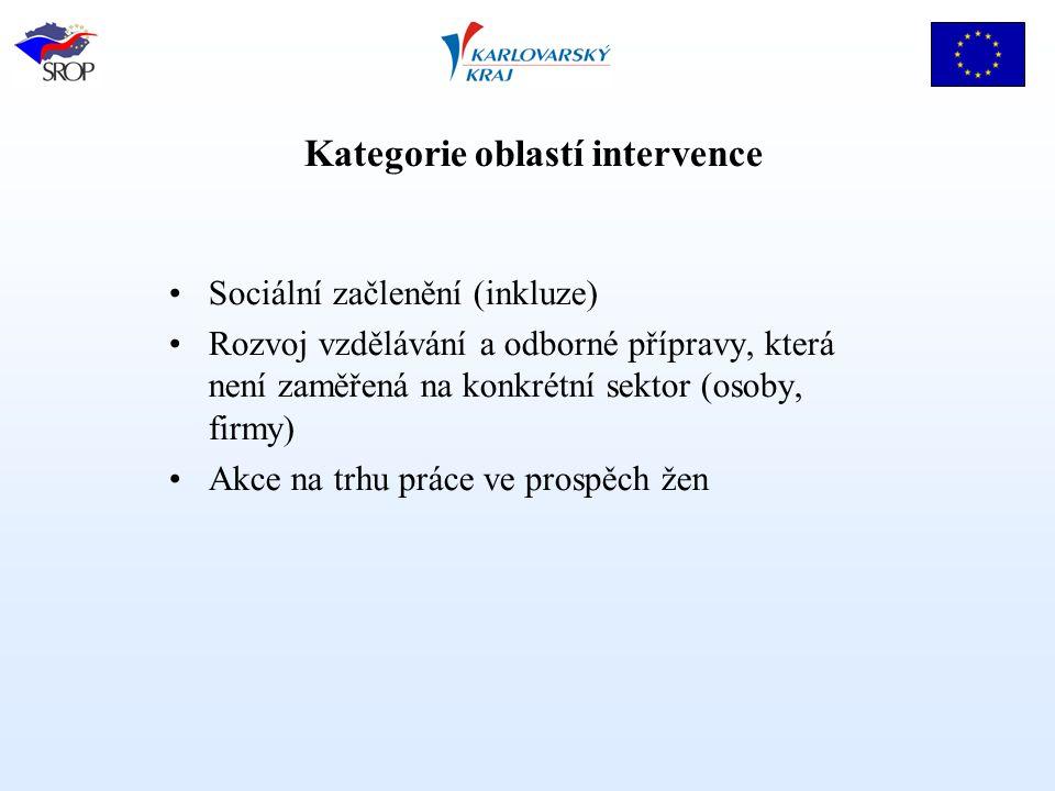 Kategorie oblastí intervence Sociální začlenění (inkluze) Rozvoj vzdělávání a odborné přípravy, která není zaměřená na konkrétní sektor (osoby, firmy) Akce na trhu práce ve prospěch žen