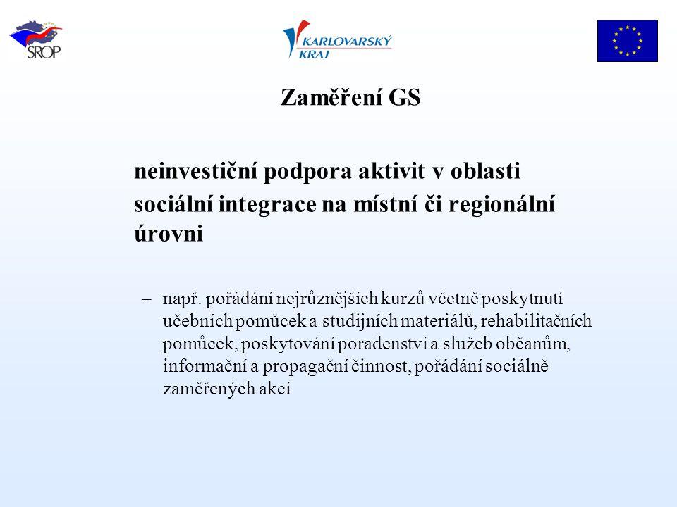 neinvestiční podpora aktivit v oblasti sociální integrace na místní či regionální úrovni –např.