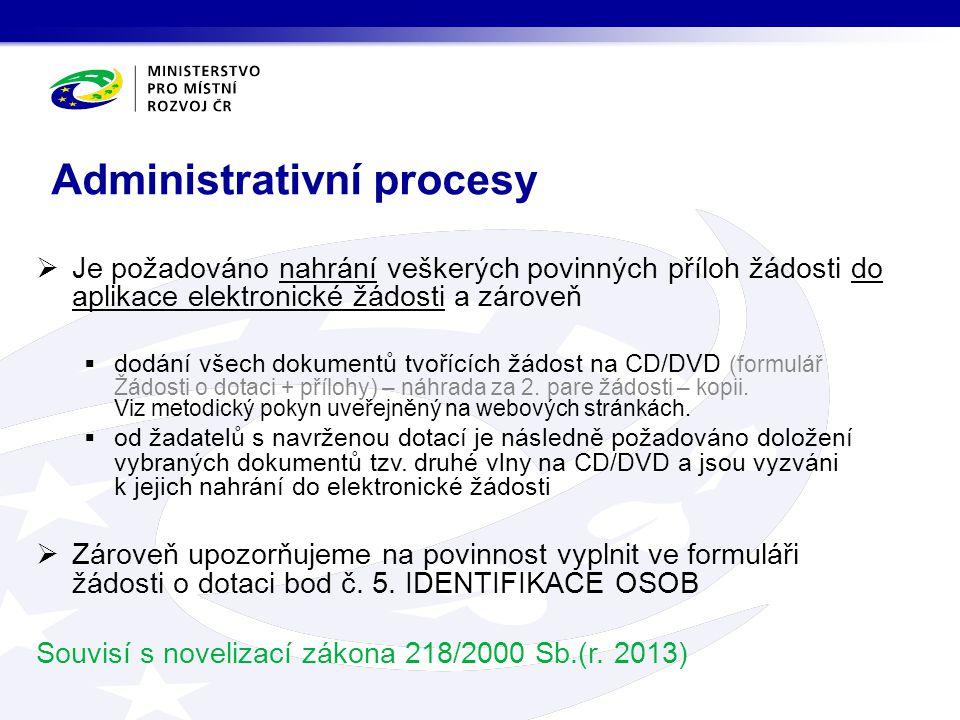  Je požadováno nahrání veškerých povinných příloh žádosti do aplikace elektronické žádosti a zároveň  dodání všech dokumentů tvořících žádost na CD/DVD (formulář Žádosti o dotaci + přílohy) – náhrada za 2.