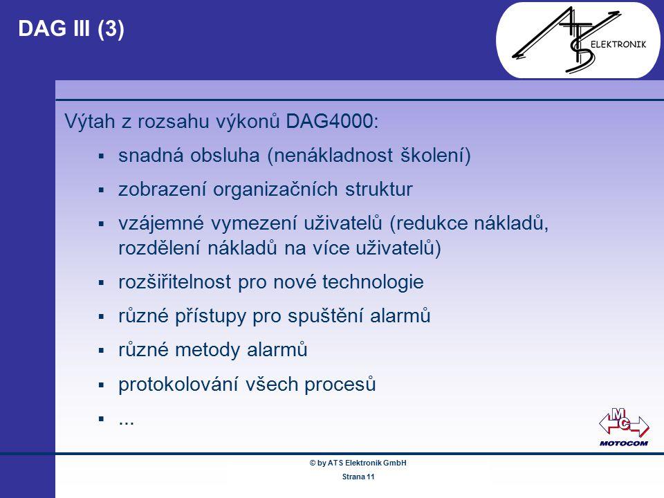 © by ATS Elektronik GmbH Februar 2005 www.ATSonline.de Seite 11 DAG III (3) Výtah z rozsahu výkonů DAG4000:  snadná obsluha (nenákladnost školení) 