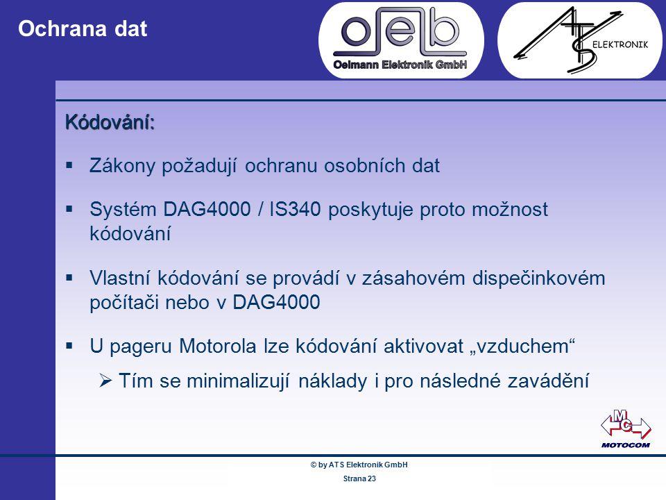 © by ATS Elektronik GmbH Februar 2005 www.ATSonline.de Seite 23 Ochrana dat Kódování:  Zákony požadují ochranu osobních dat  Systém DAG4000 / IS340