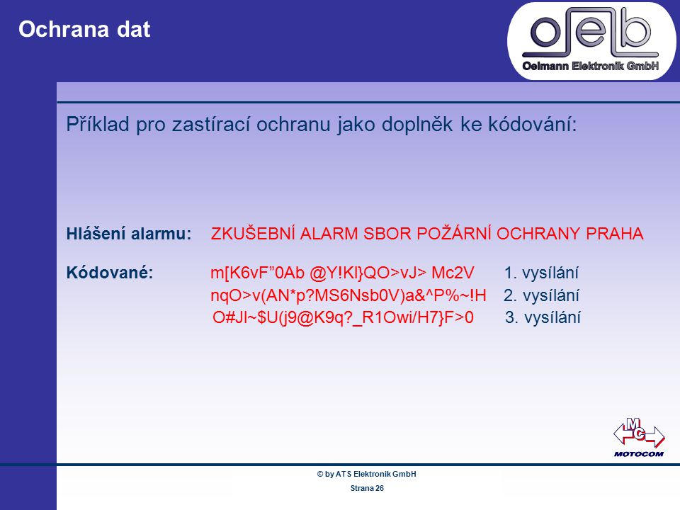 © by ATS Elektronik GmbH Februar 2005 www.ATSonline.de Seite 26 Ochrana dat Příklad pro zastírací ochranu jako doplněk ke kódování: Hlášení alarmu: ZK