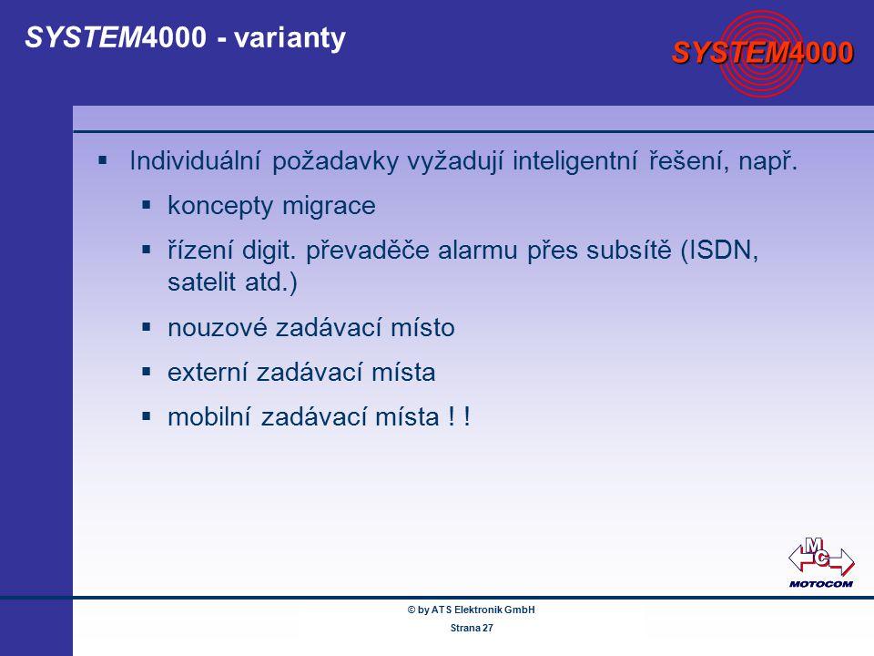 © by ATS Elektronik GmbH Februar 2005 www.ATSonline.de Seite 27 SYSTEM4000 - varianty  Individuální požadavky vyžadují inteligentní řešení, např.  k