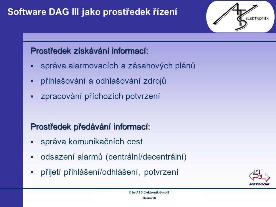 © by ATS Elektronik GmbH Februar 2005 www.ATSonline.de Seite 28 Software DAG III jako prostředek řízení Prostředek získávání informací:  správa alarm