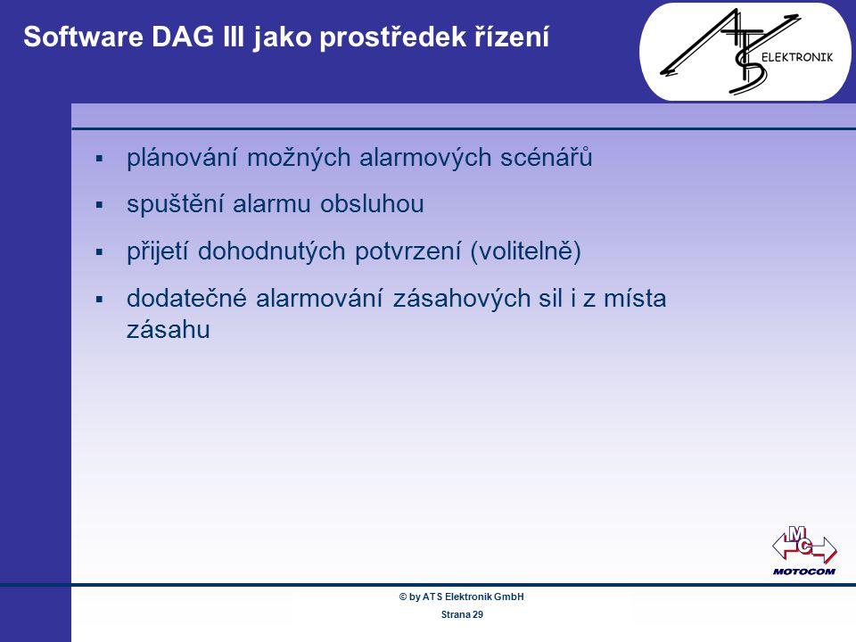 © by ATS Elektronik GmbH Februar 2005 www.ATSonline.de Seite 29 Software DAG III jako prostředek řízení  plánování možných alarmových scénářů  spušt