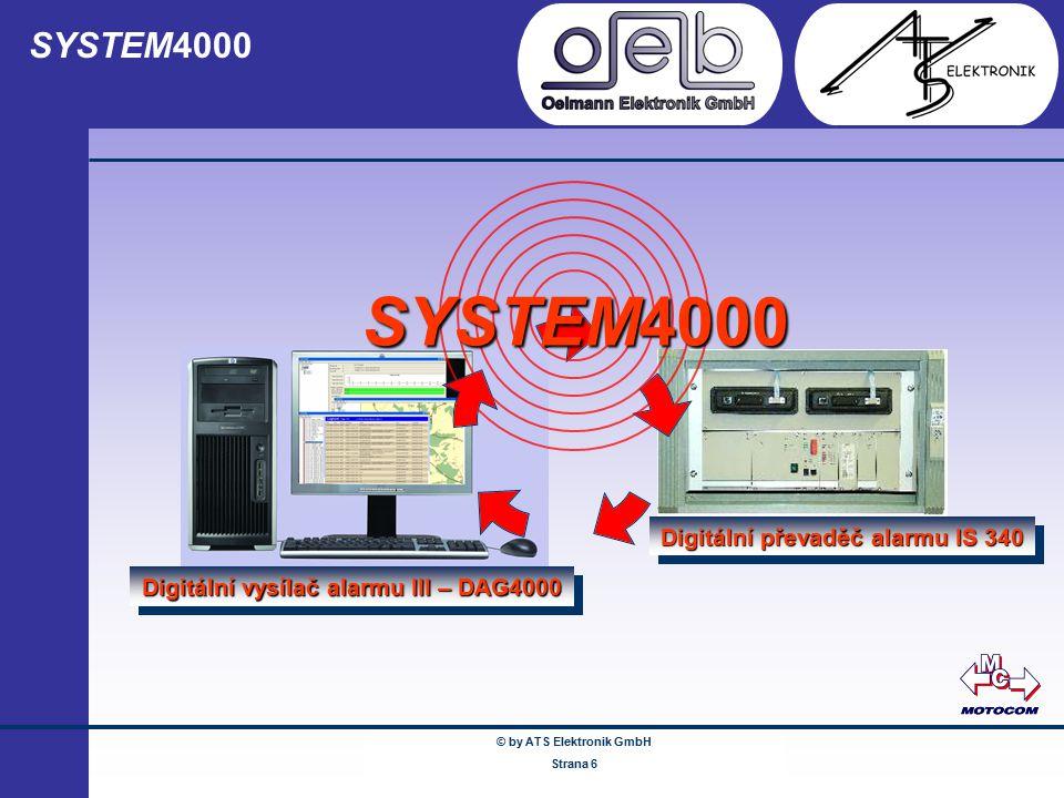 © by ATS Elektronik GmbH Februar 2005 www.ATSonline.de Seite 6 SYSTEM4000 Digitální převaděč alarmu IS 340 Digitální vysílač alarmu III – DAG4000 SYST