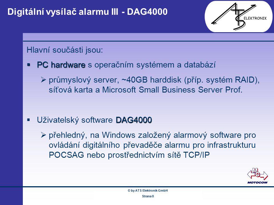 © by ATS Elektronik GmbH Februar 2005 www.ATSonline.de Seite 8 Digitální vysílač alarmu III - DAG4000 Hlavní součásti jsou:  PC hardware  PC hardwar
